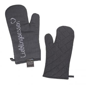 Dunkelgrauer Topfhandschuh, 80% Baumwolle, 20% Polyester, 17 x 32cm